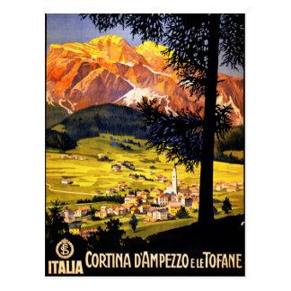 Cortina d Ampezzo Italy Vintage Poster Restored Postcard