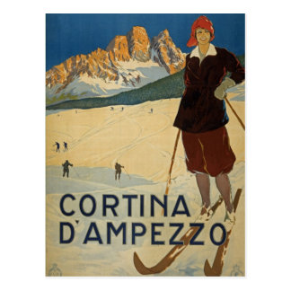 Cortina D'Ampezzo Italy vintage ski postcard