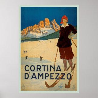 Cortina D'ampezzo, Italy Vintage Travel Poster