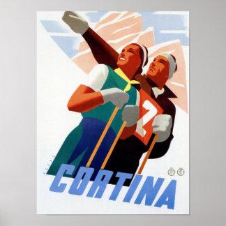 Cortina Vintage Italian travel ski winter sport Poster