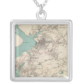 Cortlandt town silver plated necklace