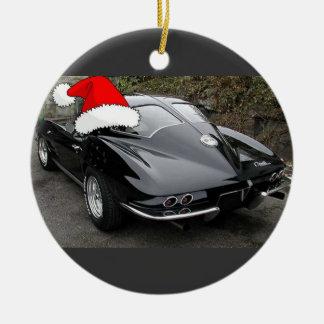 Corvette Black Split Window/Christmas Ceramic Ornament