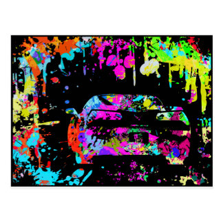 Corvette Paint Splatter Graffiti Effect Postcard