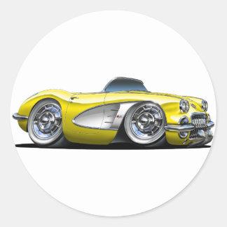 Corvette Yellow Convertible Classic Round Sticker