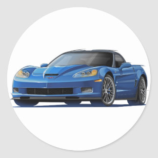 Corvette ZR1 Blue Car Classic Round Sticker