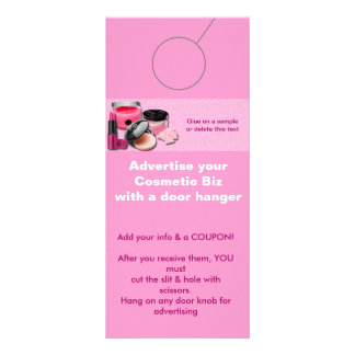 Cosmetic Advertising DOOR HANGER promotion tags Rack Cards