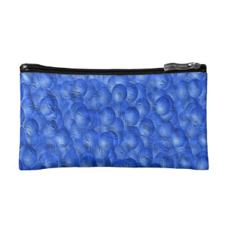 COSMETIC BAG. BLUE PAINT BUBBLES EFFECT. COSMETIC BAG