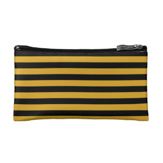 Cosmetic Bag. Broad Black & Gold Stripes. Cosmetic Bag