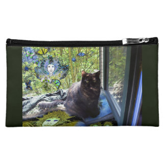 Cosmetic Bag - Cat at Window, Fairies, Butterflies
