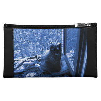 Cosmetic Bag: Cat at Window w. Fairy Midnight Blue Cosmetics Bags