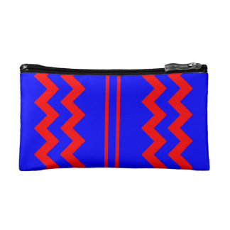 COSMETIC BAG. RED LINES AND ZIGZAGS ON BLUE. MAKEUP BAG