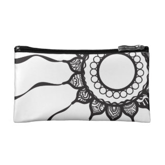 Cosmetic Bag with Black and White Flower Design