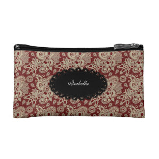 Cosmetic Dark Red Paisley Floral make-up lipstick Makeup Bags