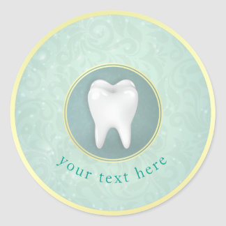 Cosmetic & General Dentist Gold Turquoise Damask Classic Round Sticker