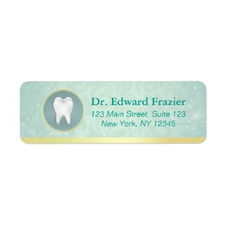 Cosmetic & General Dentist Gold & Turquoise Damask Return Address Label