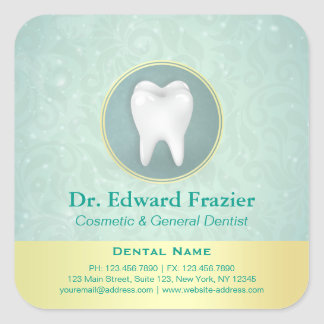 Cosmetic & General Dentist Gold Turquoise Damask Square Sticker