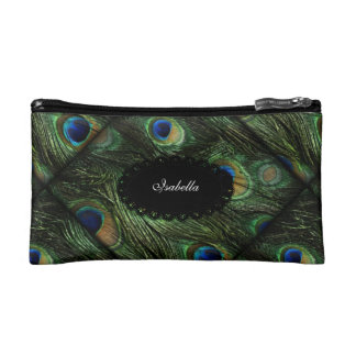 Cosmetic Green Blue Peacock Feathers Cosmetic Bags