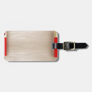 Cosmetic products on wooden table luggage tag
