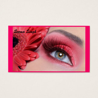 cosmetics makeup artist peach flower business card