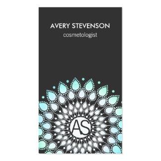 Cosmetologist Ornate Leaf Motif Black Modern Pack Of Standard Business Cards