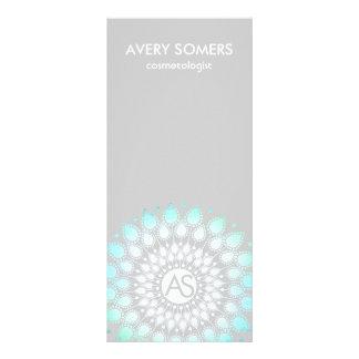 Cosmetologist Ornate Leaf Motif Grey Modern 10 Cm X 23 Cm Rack Card