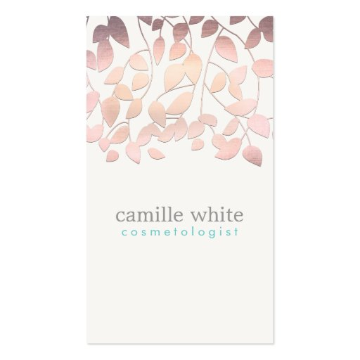 Cosmetology Blush Pink Leaves Beauty Salon and Spa Business Cards