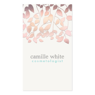 Cosmetology Blush Pink Leaves Beauty Salon and Spa Pack Of Standard Business Cards