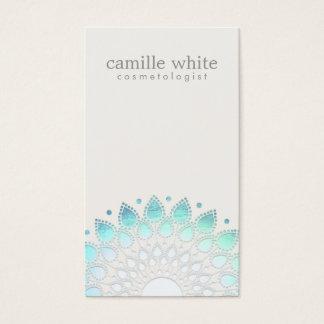 Cosmetology Elegant Circle Light Blue Off-White