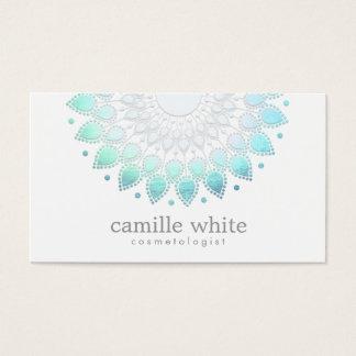 Cosmetology Elegant Circle Motif Light Blue White