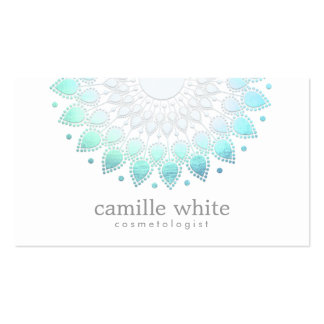 Cosmetology Elegant Circle Motif Light Blue White Pack Of Standard Business Cards