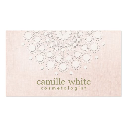 Cosmetology Elegant Circle Rosette Light Pink Business Card