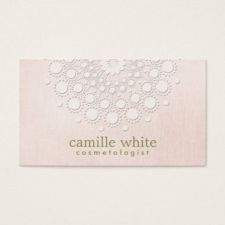 Cosmetology Elegant Circle Rosette Light Pink Business Card