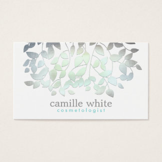 Cosmetology Faux Blue Green Foil Leaves White