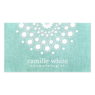 Cosmetology Pretty White Rosette Light Aqua Blue Pack Of Standard Business Cards