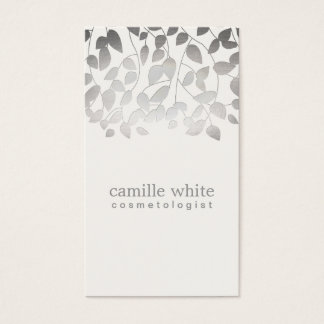 Cosmetology Silver Foil Embossed Look Leaves Gray Business Card