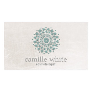 Cosmetology Teal Circle Ivory Texture Neutral Spa Business Card Templates
