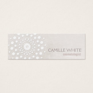 Cosmetology White Circle Ivory Texture Elegant Spa Mini Business Card