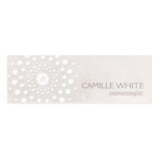 Cosmetology White Circle Ivory Texture Elegant Spa Pack Of Skinny Business Cards