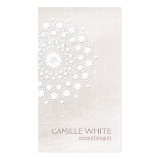 Cosmetology White Rosette Natural and Organic Spa Business Card Template