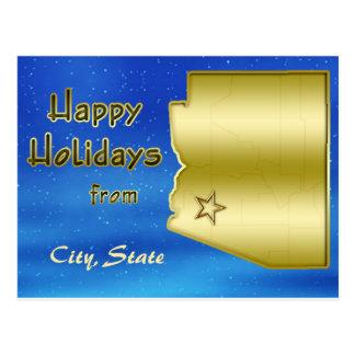 Cosmic Blue Sky Arizona Map Custom Post Cards