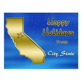 Cosmic Blue Sky California Map Custom Postcard