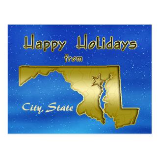 Cosmic Blue Sky Maryland Map Custom Post Card