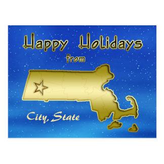 Cosmic Blue Sky Massachusetts Map Custom Post Cards
