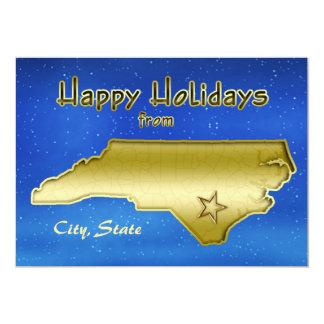 Cosmic Blue Sky North Carolina Map Custom 13 Cm X 18 Cm Invitation Card