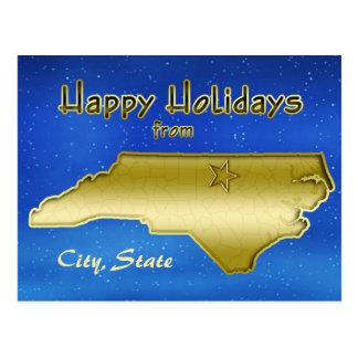 Cosmic Blue Sky North Carolina Map Custom Postcards