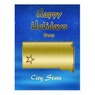 Cosmic Blue Sky South Dakota Map Custom Postcards