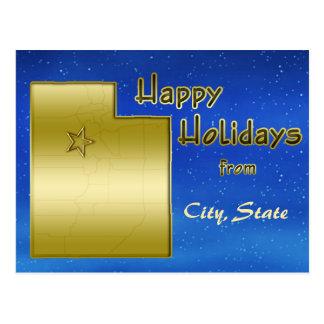 Cosmic Blue Sky Utah Map Custom Postcards