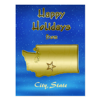 Cosmic Blue Sky Washington Map Custom Postcards