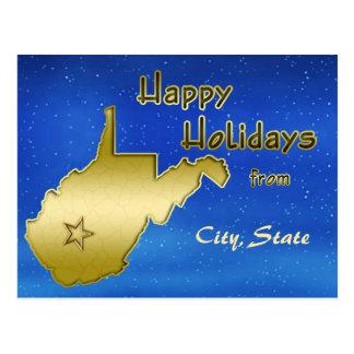 Cosmic Blue Sky West Virginia Map Custom Postcard