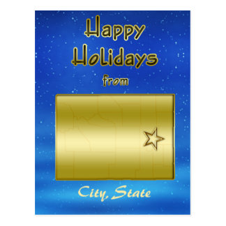 Cosmic Blue Sky Wyoming Map Custom Postcard